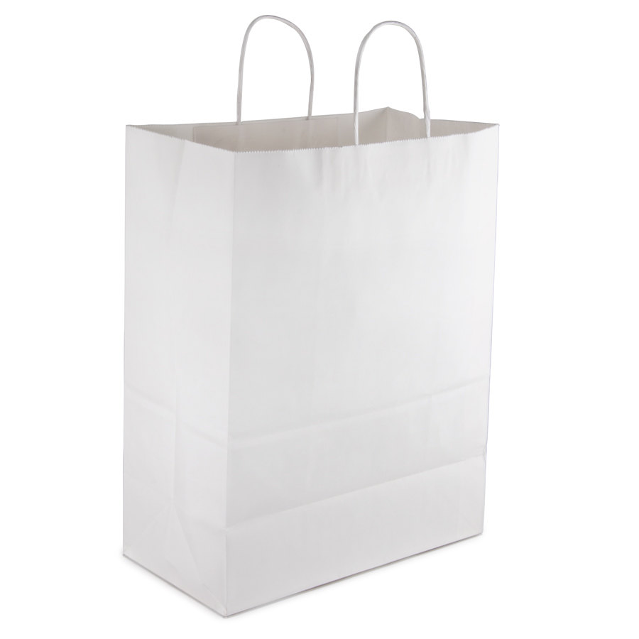 """Mart White Shopping Bag with Handles 13"""" x 7"""" x 17"""" 250/Case"""