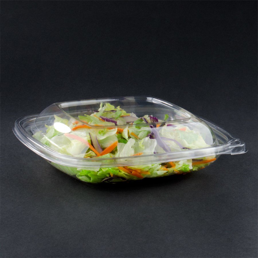 Sabert C18032TE150 32 oz. Clear Square Tamper Evident Bowl with Lid - 150 / Case