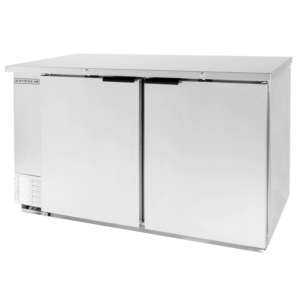 "Beverage Air BB58-1-SS 59"" SS Back Bar Wine Series Refrigerator - 2 Solid Door"