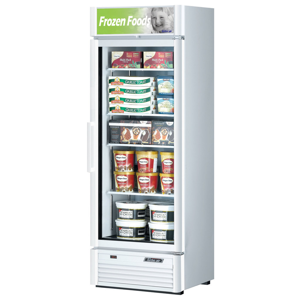 "Turbo Air TGF-15SD White 27"" Super Deluxe Single Door Merchandiser Freezer - 15.9 Cu. Ft."