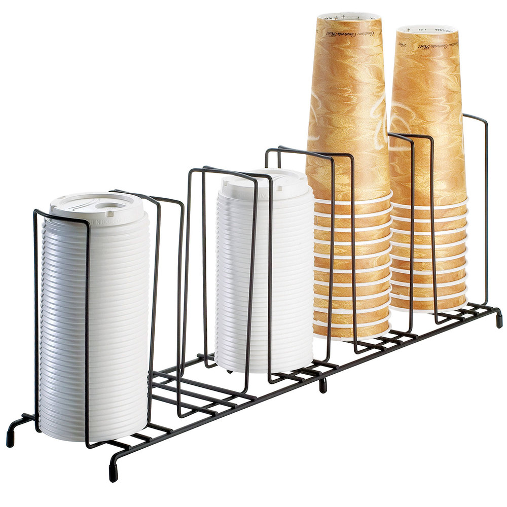 "Cal-Mil 1233 Iron Five Section Cup / Lid Organizer - 22"" x 6"" x 9"""