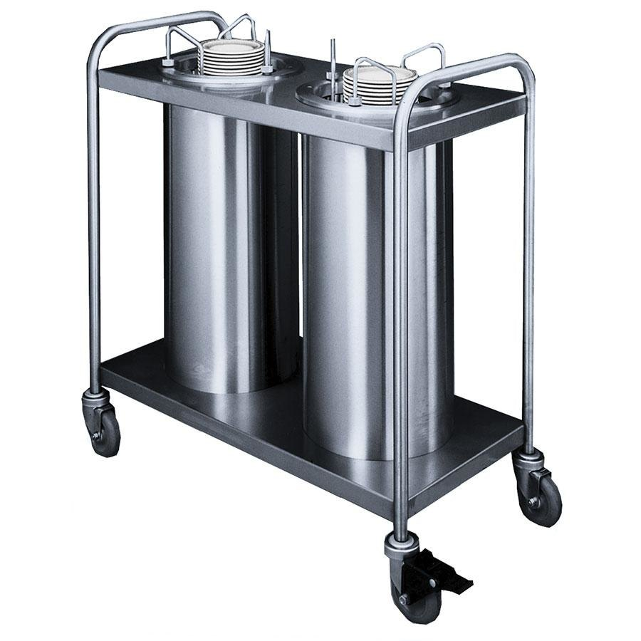 "APW Wyott Lowerator TL2-9A/12A Trendline Mobile Adjustable Unheated Two Tube Dish Dispenser for 3 1/2"" to 11 7/8"" Dishes"