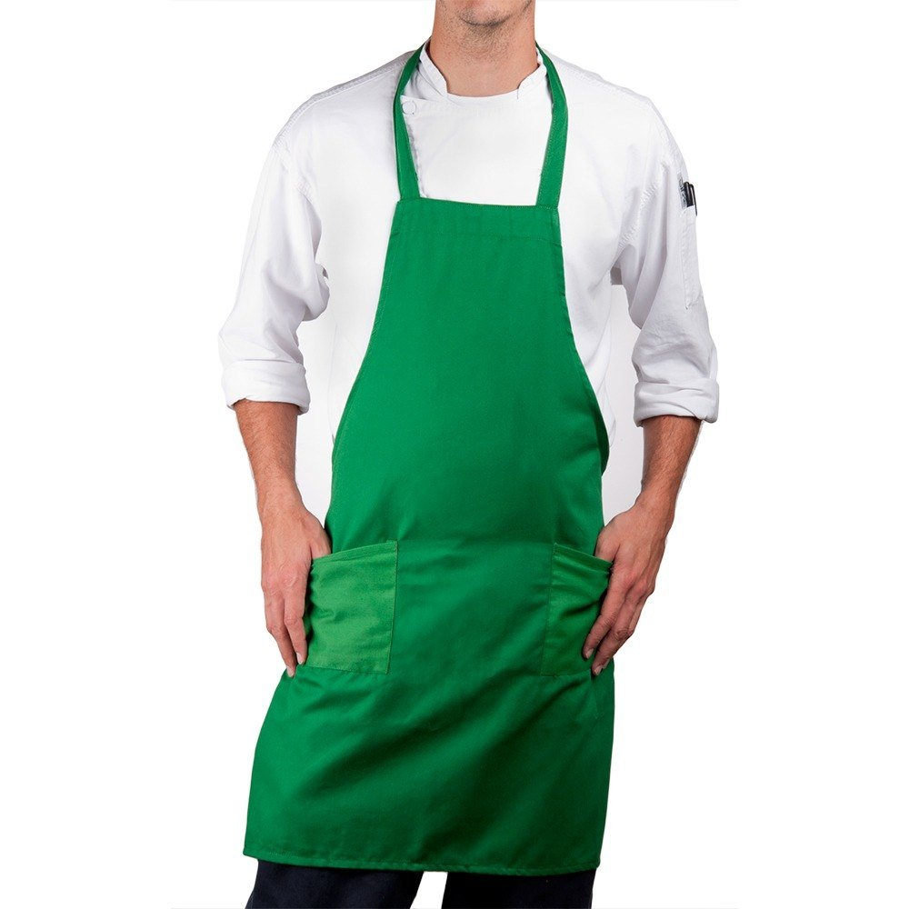 Green Choice Full Length Bib Apron with Pockets - 34 inchL x 30 inchW