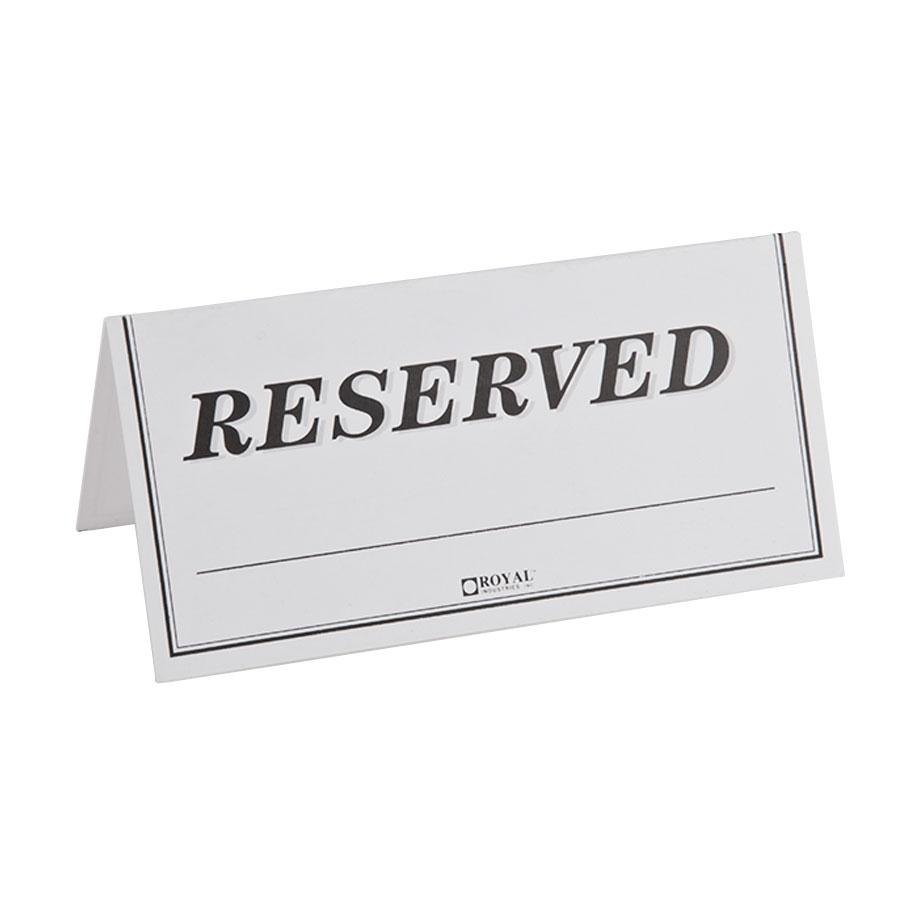Table tent sign reserved double sided 250 pack for Double sided place card template