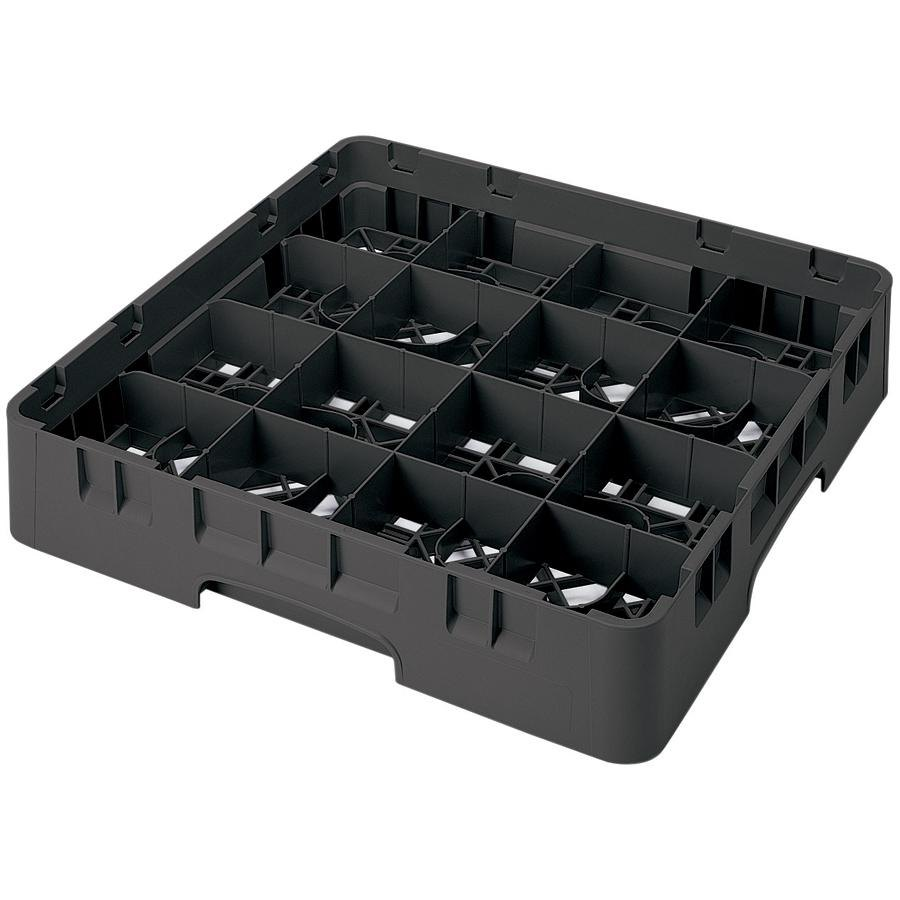 "Cambro 16S1114110 Camrack 11 3/4"" High Black 16 Compartment Glass Rack"