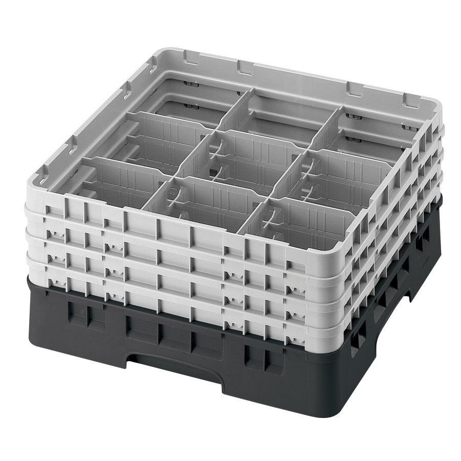 "Cambro 9S638110 Black Camrack 9 Compartment 6 7/8"" Glass Rack"
