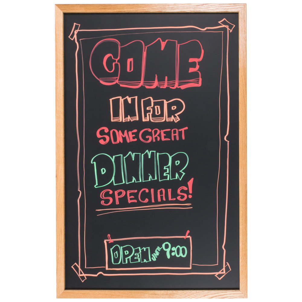 "Aarco 24"" x 36"" Oak Frame Black Chalk Board"