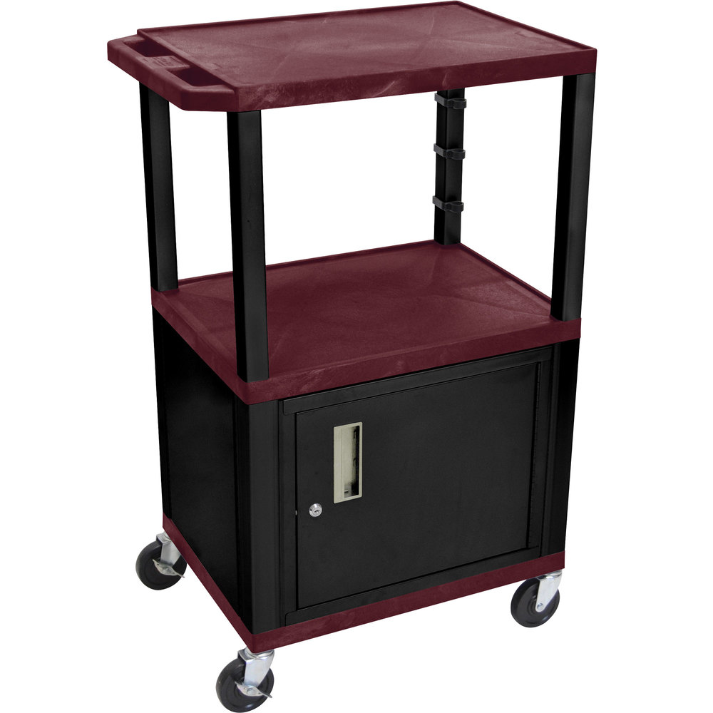 "Luxor / H. Wilson WT2642BYC2E-B Burgundy Tuffy Two Shelf Adjustable Height A/V Cart with Locking Cabinet - 18"" x 24"""