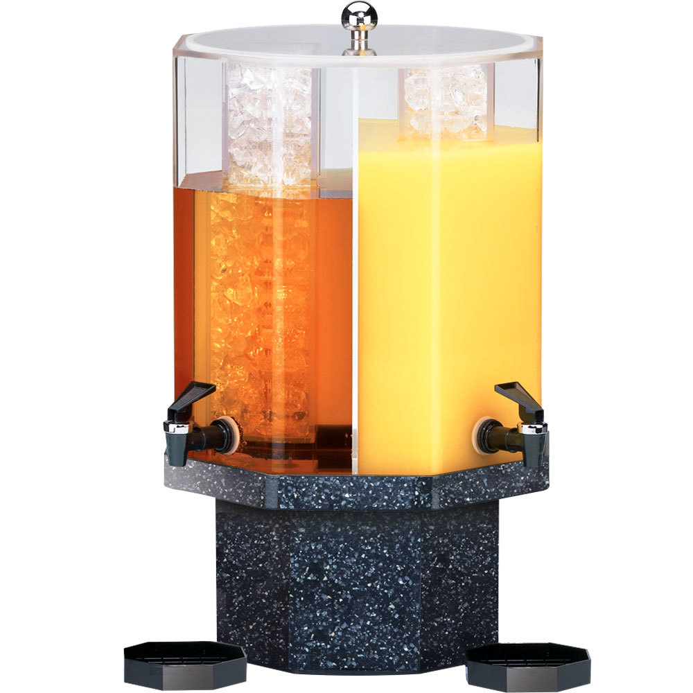 "Cal-Mil 971-5-17 Classic 5 Gallon Dual Chamber Beverage Dispenser with Granite Charcoal Base - 13"" x 13"" x 22"""