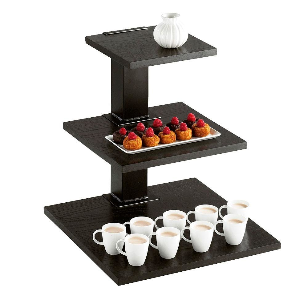 Cal Mil 1930-96 Midnight Three Tier Riser with Black Frame and Removable Shelves - 18 inch x 18 inch x 20 1/4 inch