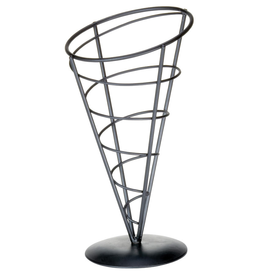"Tablecraft AC59 Vertigo Round Appetizer Wire Cone Basket - 5"" x 9"""