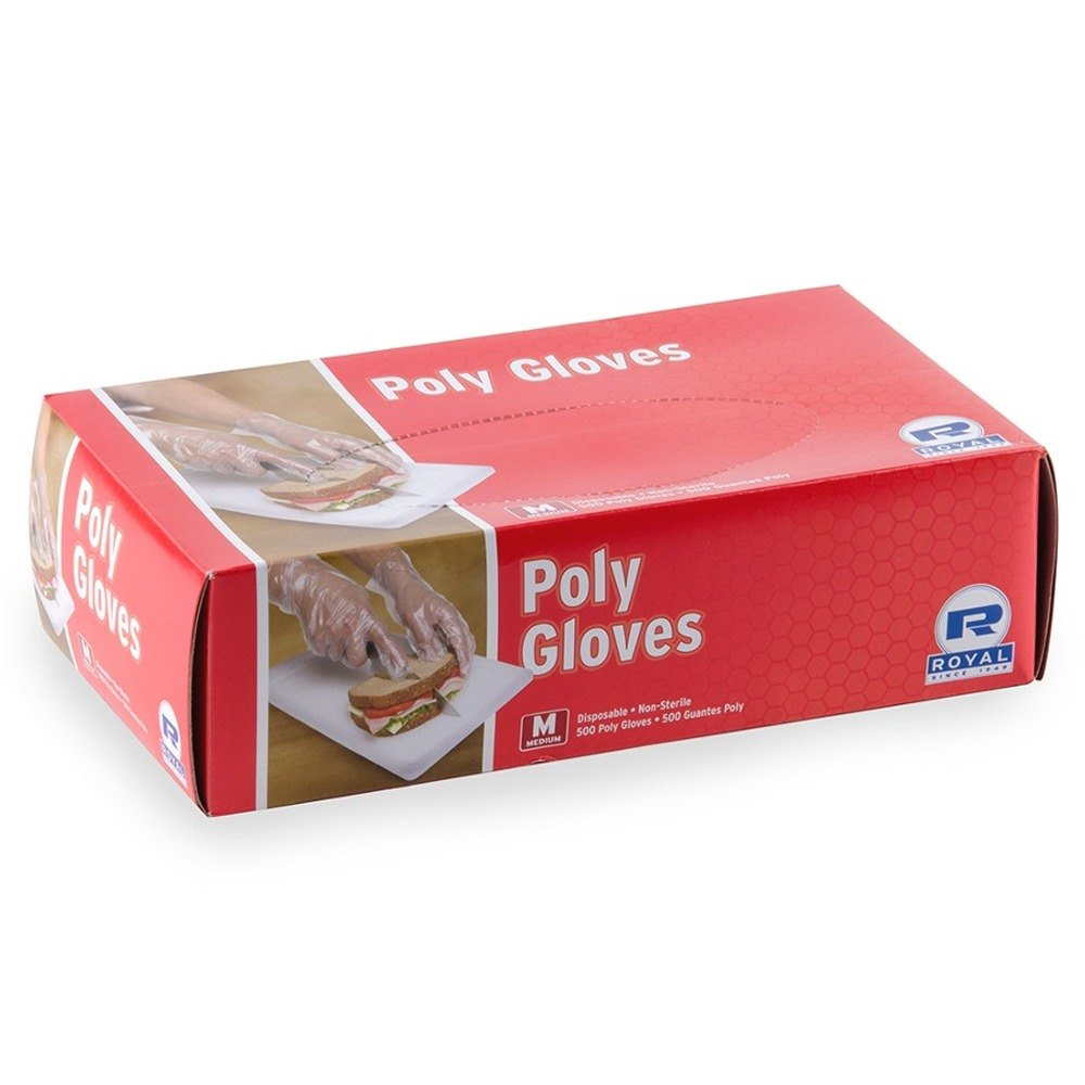 Disposable Poly Gloves - Medium 500 / Box for Food Service
