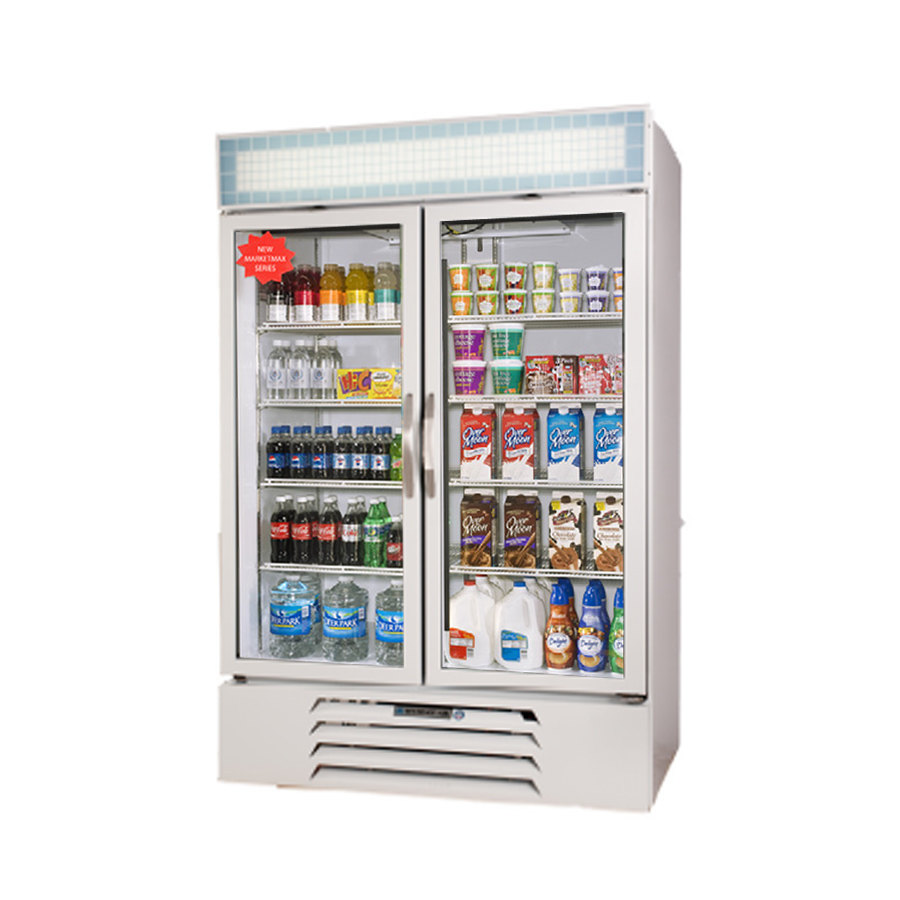 Beverage Air MMR49-1-W-LED White Marketmax Refrigerated 2 Glass Door Merchandiser with LED Lighting - 49 Cu. Ft. at Sears.com