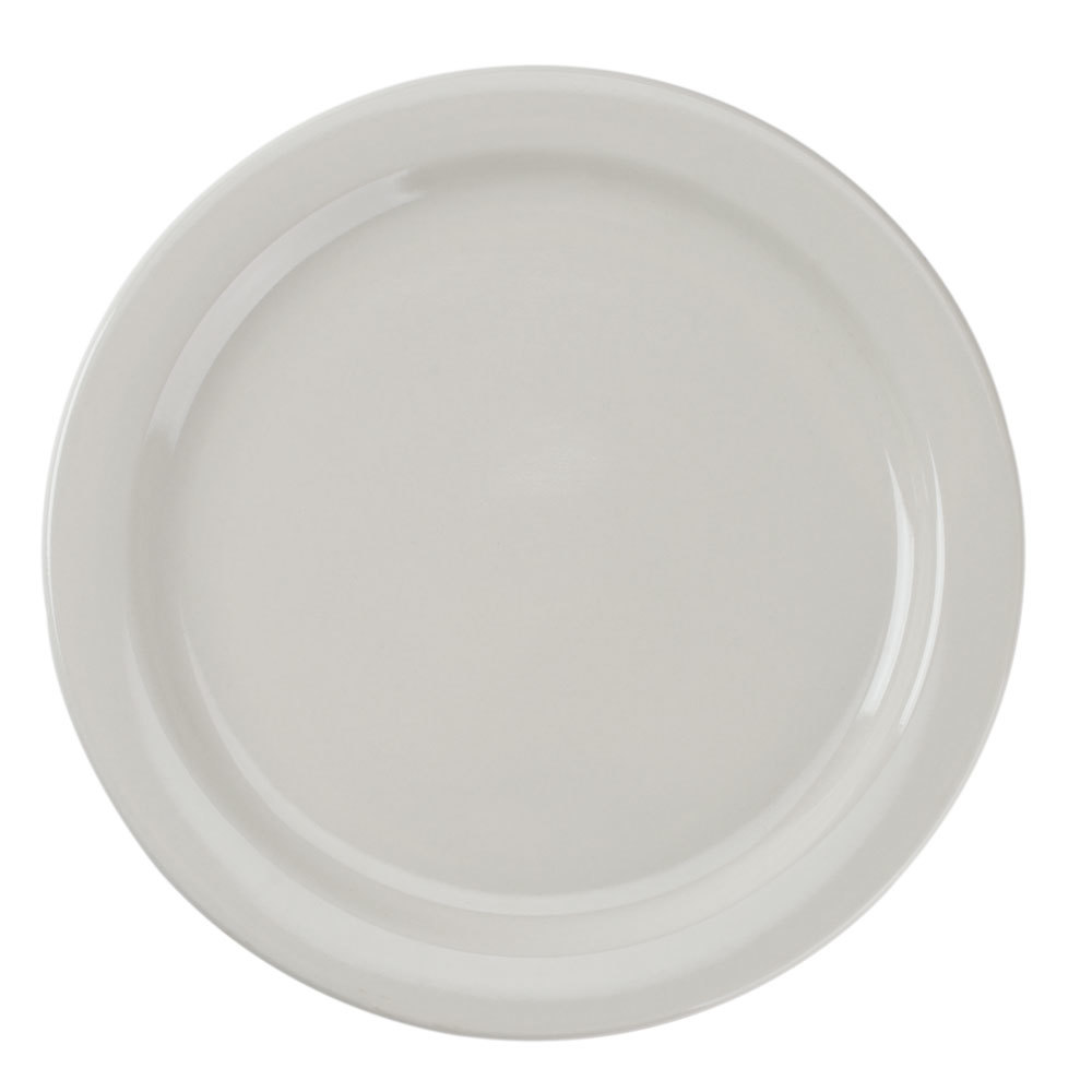 Narrow Rim 10 1/2 inch American White (Ivory/Eggshell) China Plate - 12 / Case