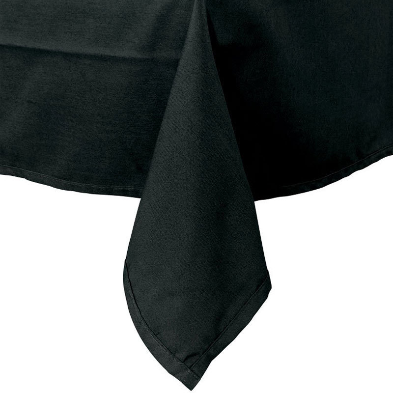 "64"" x 110"" Black Hemmed Polyspun Cloth Table Cover"