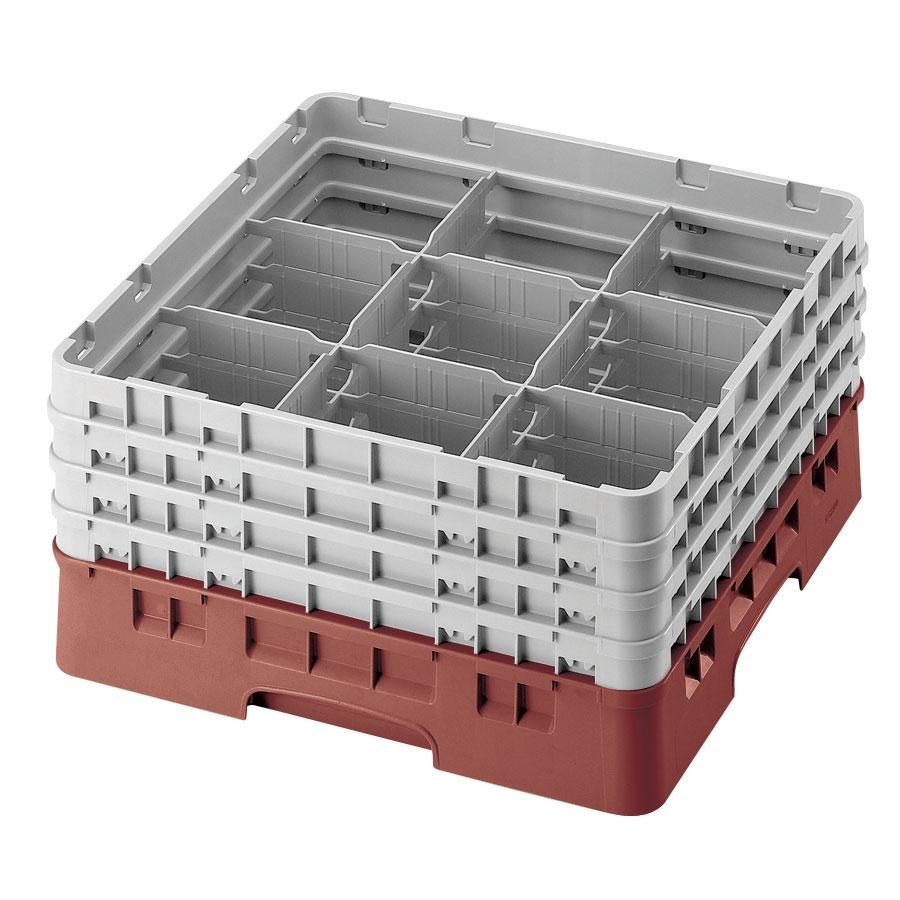 "Cambro 9S434416 Cranberry Camrack 9 Compartment 5 1/4"" Glass Rack"