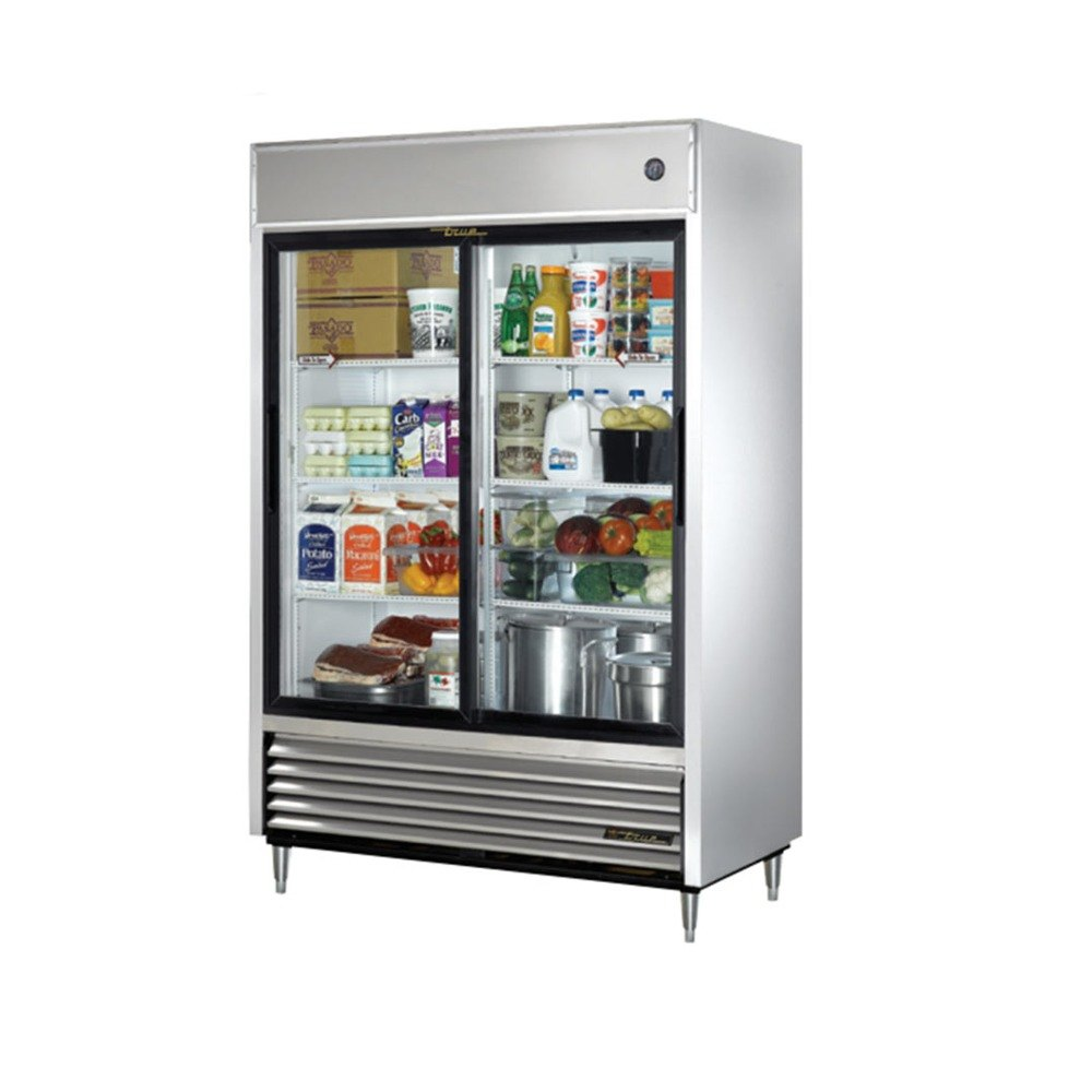 ... 47G Two Section Sliding Glass Door Reach In Refrigerator - 47 Cu. Ft