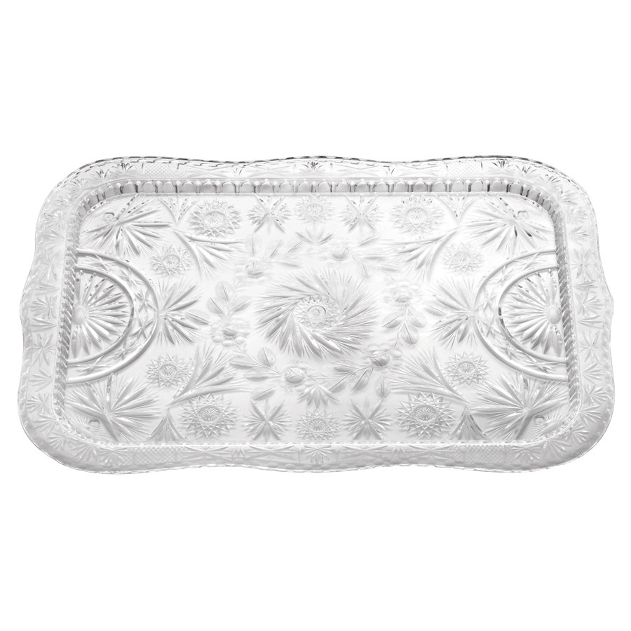 "22"" x 16 1/2"" Crystal Rectangular Plastic Catering Tray"