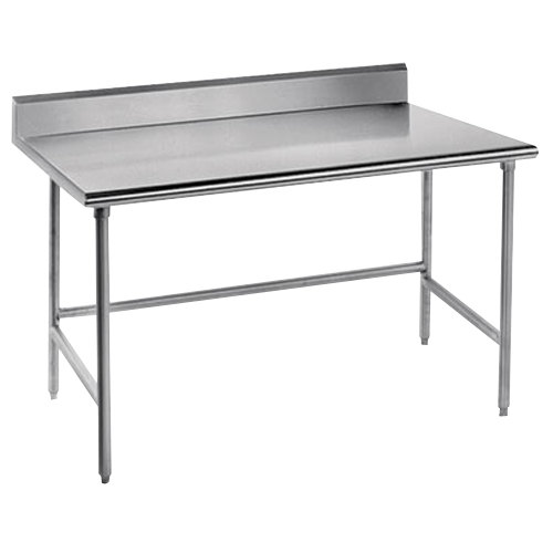 "Advance Tabco TKMS-240 24"" x 30"" 16 Gauge Open Base Stainless Steel Commercial Work Table with 5"" Backsplash"