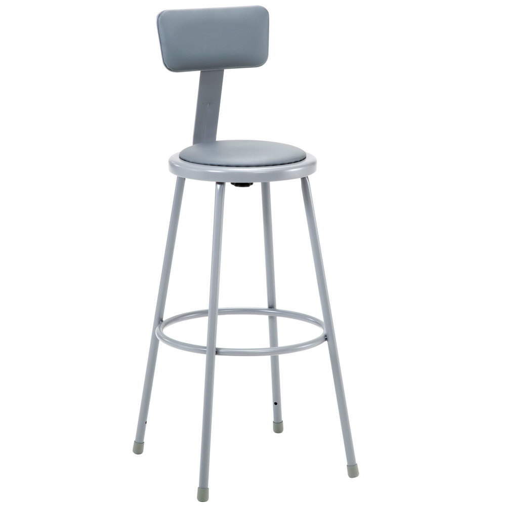 "National Public Seating 6430B 30"" Gray Round Padded Lab Stool with Adjustable Padded Backrest"