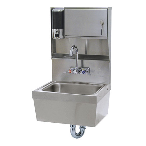 "Advance Tabco 7-PS-85 Wall Mounted Hand Sink with Soap / Paper Towel Dispenser and Skirt - 17 1/4"" x 15 1/4"""