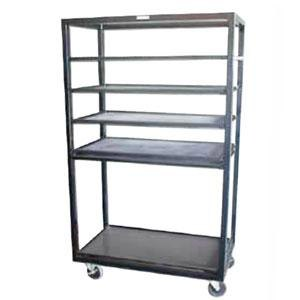 "Winholt DR-2443 Black 43"" x 24"" Merchandiser Rack with Four Flat Shelves and Flat Bottom Shelf"
