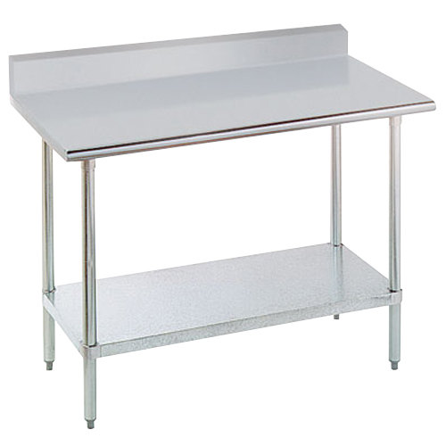 "16 Gauge Advance Tabco KLAG-305-X 30"" x 60"" Stainless Steel Work Table with 5"" Backsplash and Galvanized Undershelf"