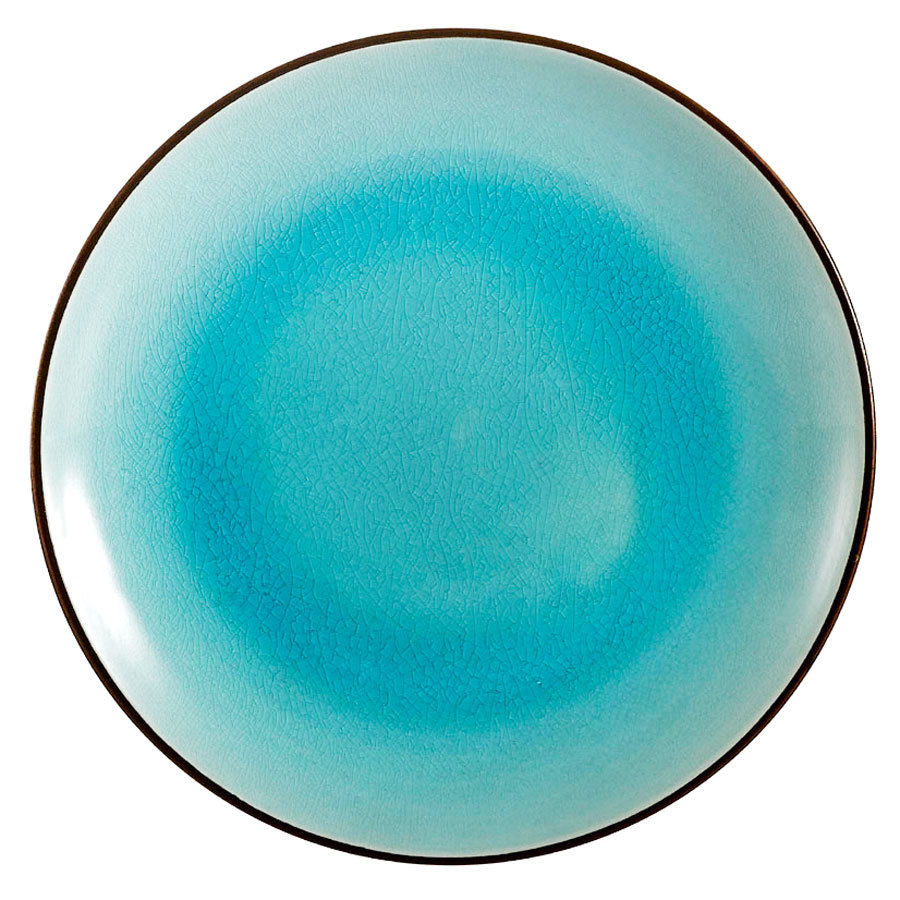 "CAC 666-16-BLU Japanese Style 10"" China Coupe Plate - Black Non-Glare Glaze / Lake Water Blue - 12/Case"