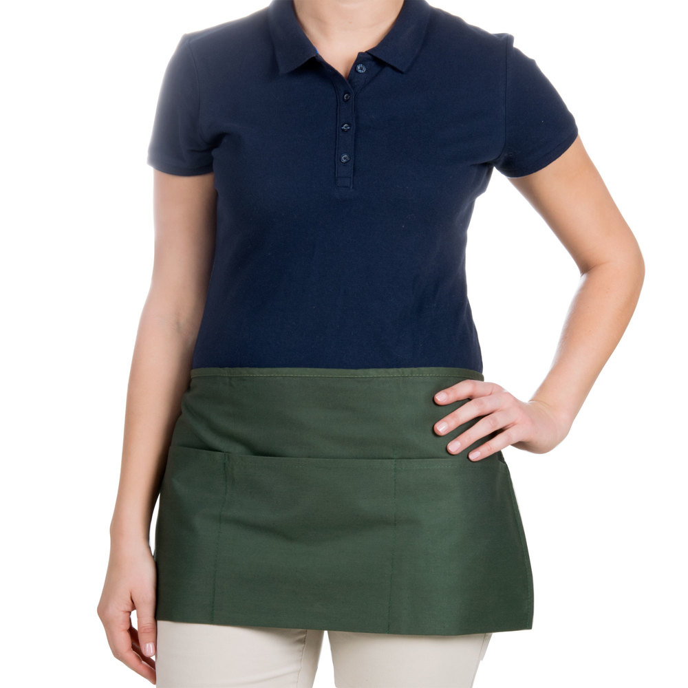 "Choice 12"" x 24"" Hunter Green Front of the House Waist Apron"