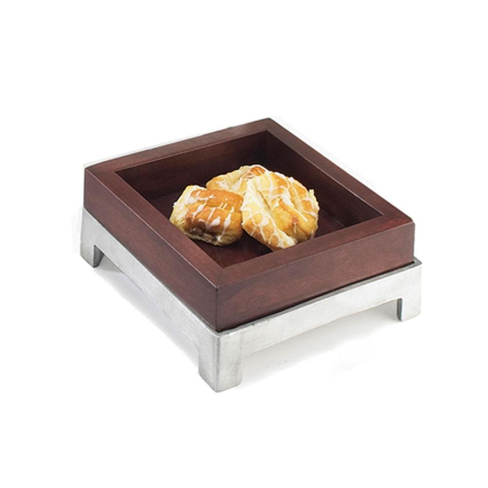 Cal Mil 1477-8-52 8 inch Dark Wood Square Deep Tray
