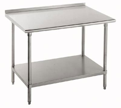 "Advance Tabco 14 Gauge Advance Tabco TFSS-366 36"" x 72"" Open Base Stainless Steel Commercial Work Table with 1 1/2"" Backsplash at Sears.com"