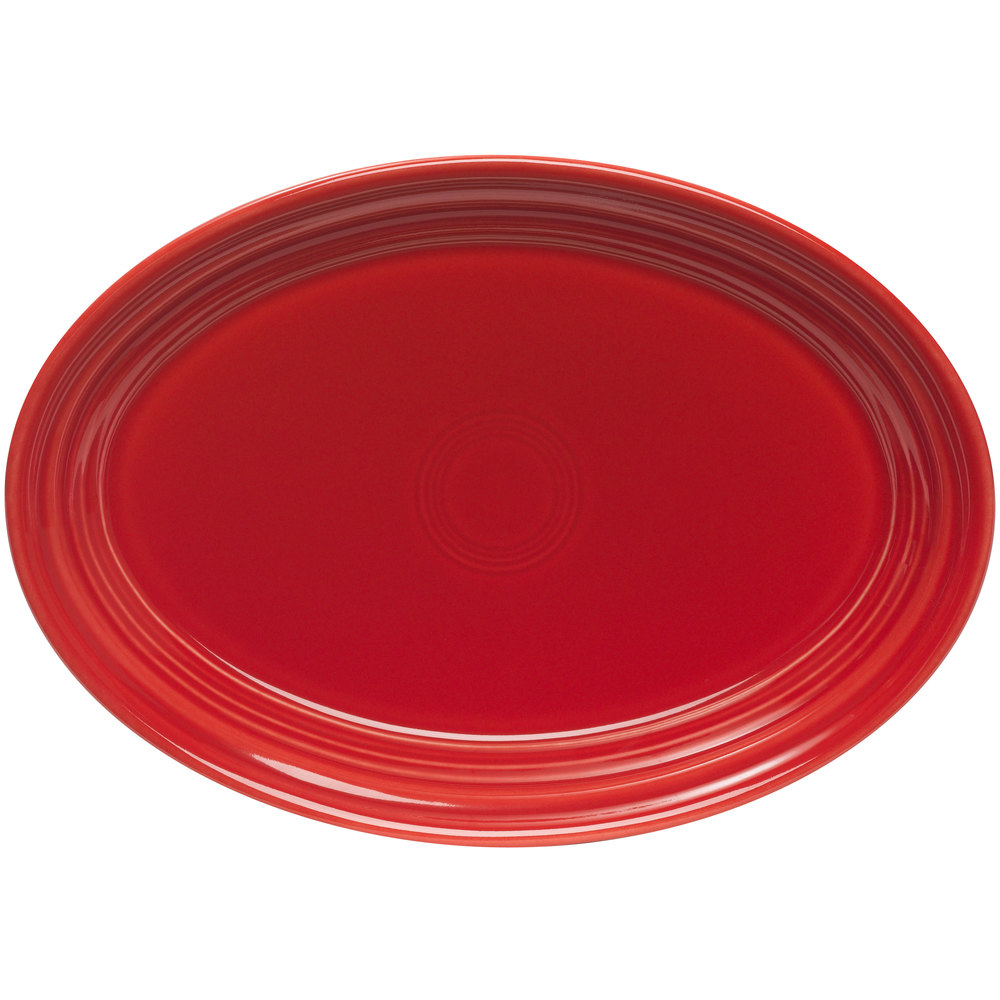 "Homer Laughlin 456326 Fiesta Scarlet 9 5/8"" Platter - 12 / Case"