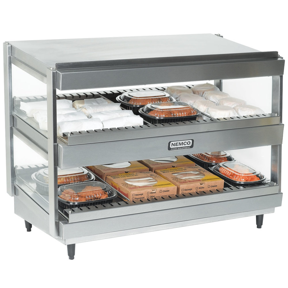 "Nemco 6480-36S Stainless Steel 36"" Slanted Double Shelf Merchandiser - 120V"