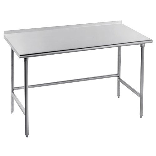 "Advance Tabco TFMS-247 24"" x 84"" 16 Gauge Open Base Stainless Steel Commercial Work Table with 1 1/2"" Backsplash"