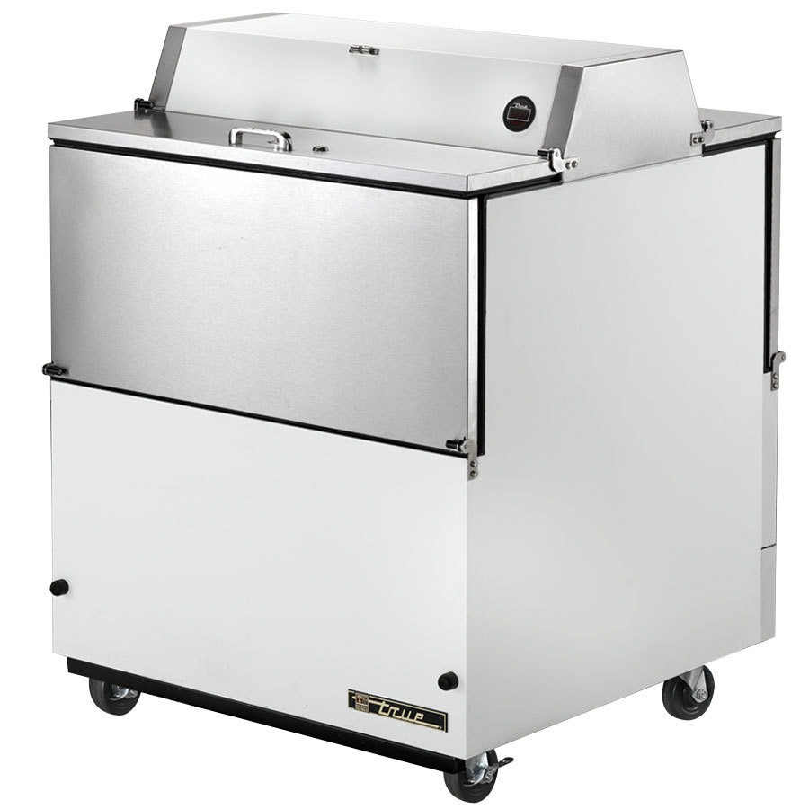 "True TMC-34-DS-SS 34"" White Two Sided Milk Cooler with Stainless Steel Interior"