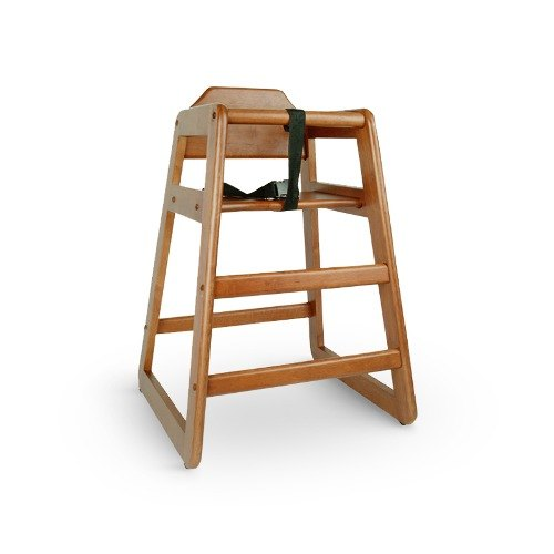 Stacking Wood High Chair with Walnut Finish Unassembled