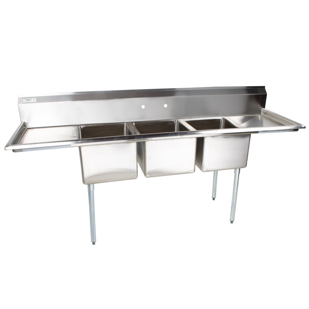 Regency 16 Gauge Three Compartment Stainless Steel Commercial Sink with 2 Drainboards - 91 inch Long, 17 inch x 17 inch x 12 inch Compartments