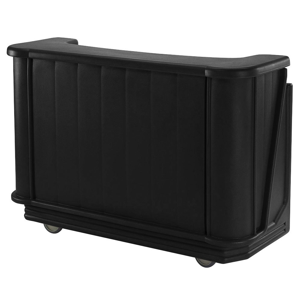 "Cambro BAR650PMT110 Black Cambar 67"" Portable Bar with 7-Bottle Speed Rail and Complete Post Mix System with Water Tank"