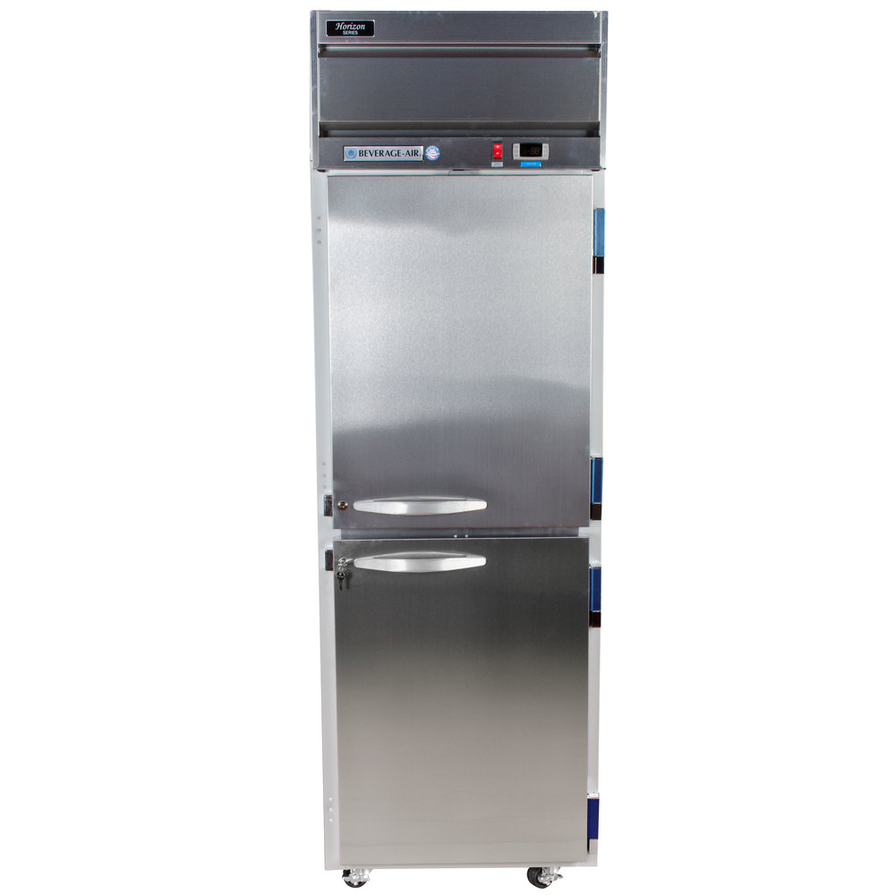 Beverage Air HF1-1HS 1 Section Solid Half Door Reach-In Freezer - 24 cu. ft., Stainless Steel Front, Gray Exterior