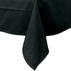 "54"" x 81"" Black 100% Polyester Hemmed Cloth Table Cover"