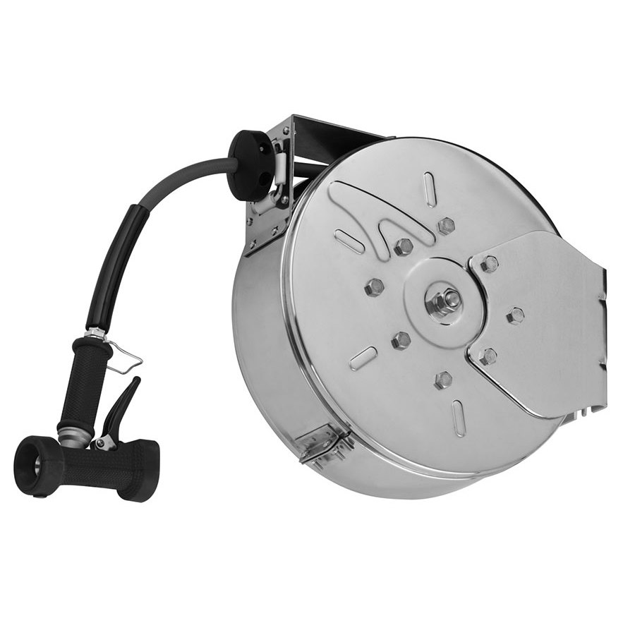 T&S B-7122-C02 30' Enclosed Stainless Steel Hose Reel with Rear Trigger Water Gun
