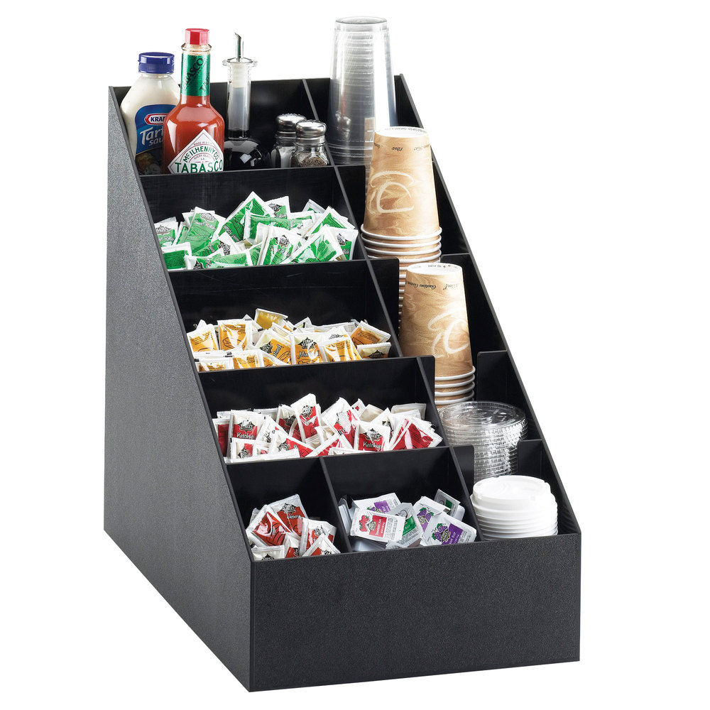 "Cal-Mil 2047 Classic Black Cup / Lid / Condiment Organizer - 14"" x 22 1/2"" x 20 1/4"""