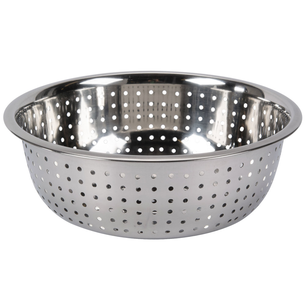 5 5 Qt Stainless Steel Chinese Colander With Large Holes