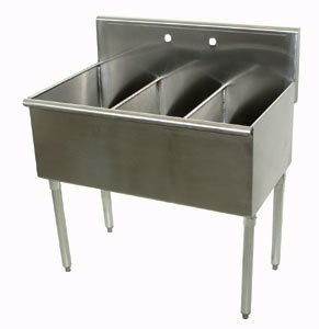 Advance Tabco 4-3-36 Three Compartment Stainless Steel Commercial Sink - 36 inch