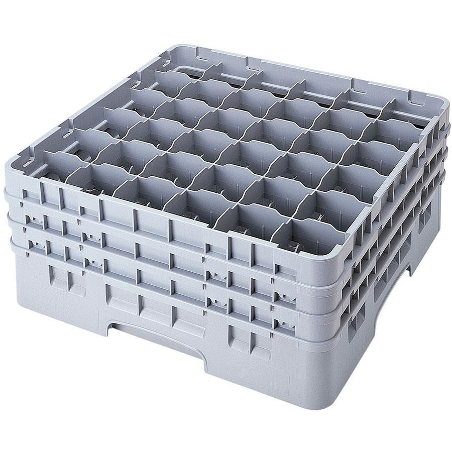 "Cambro 36S318151 Soft Gray Camrack 36 Compartment 3 5/8"" Glass Rack"