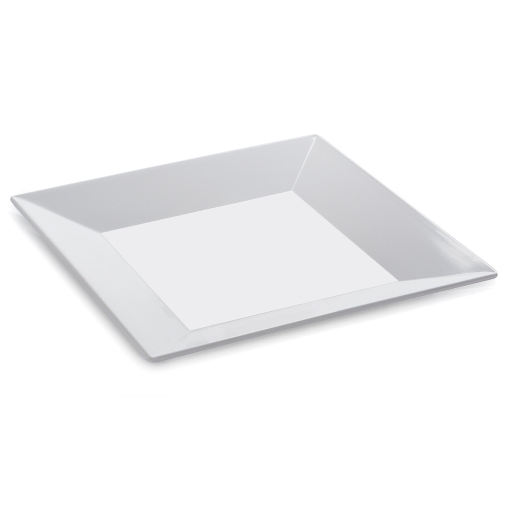 GET ML-103-W 8 inch White Siciliano Square Plate - 12 / Case