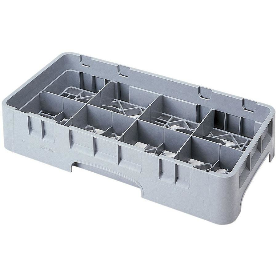 "Cambro 8HS1114151 Soft Gray Camrack 8 Compartment 11 3/4"" Half Size Glass Rack"