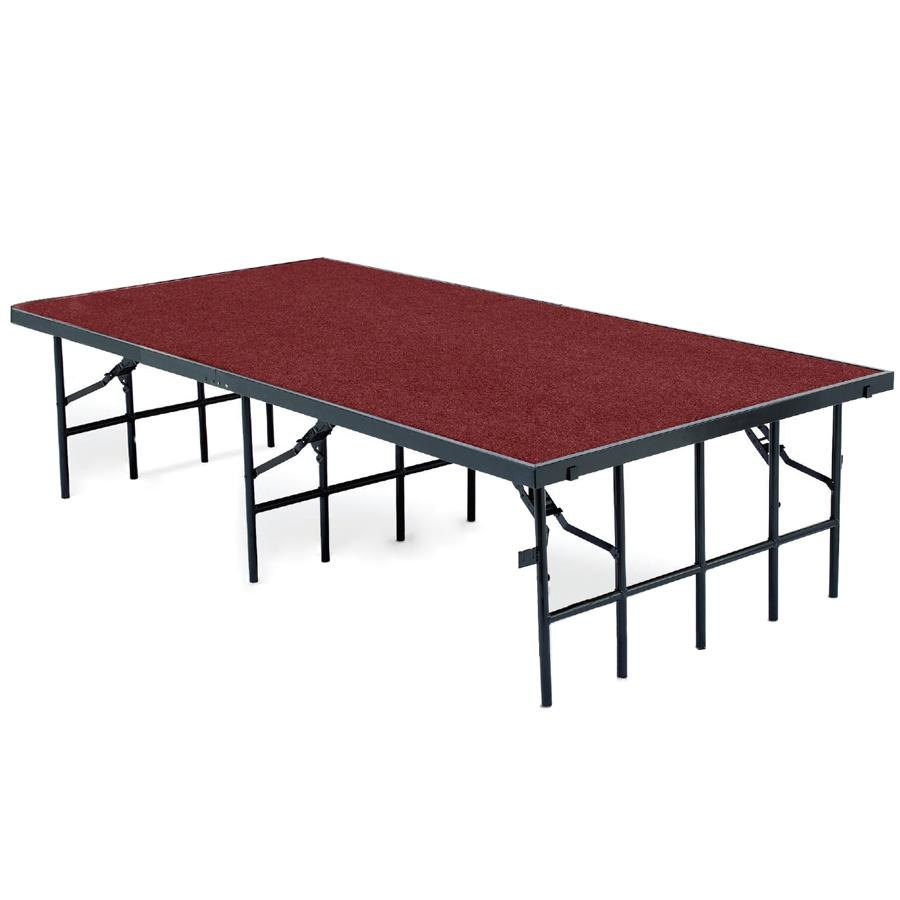 "National Public Seating S488C Single Height Portable Stage with Red Carpet - 48"" x 96"" x 8"""