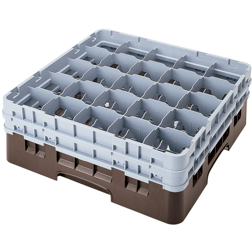 "Cambro 25S900167 Camrack 9 3/8"" High Brown 25 Compartment Glass Rack"
