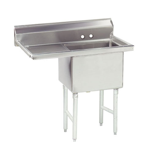 Left Drainboard Advance Tabco FS-1-2424-24 Spec Line Fabricated One Compartment Pot Sink with One Drainboard - 50 1/2""